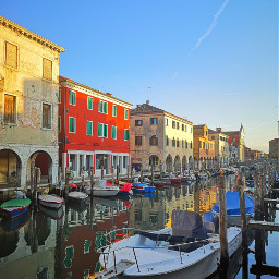 chioggia boats canals reflections colorful