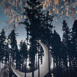 freetoedit picsart vipshoutout myedit moon surreal surrealistic forrest