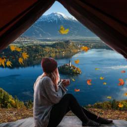 freetoedit camping fall lake leaves scenery srcautumncolors