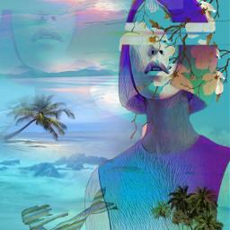 freetoedit females oceanview sunsets palmtrees myeditoffreetoedit
