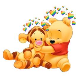 freetoedit winniethepooh tiger heartcrown ❤️🧡💛💚💙💜🖤