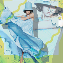 freetoedit female flowygown blue hat myeditoffreetoedit