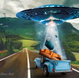 freetoedit ufo spaceship road truck ircsofafortwo