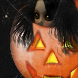 freetoedit fear halloween jackolantern spider