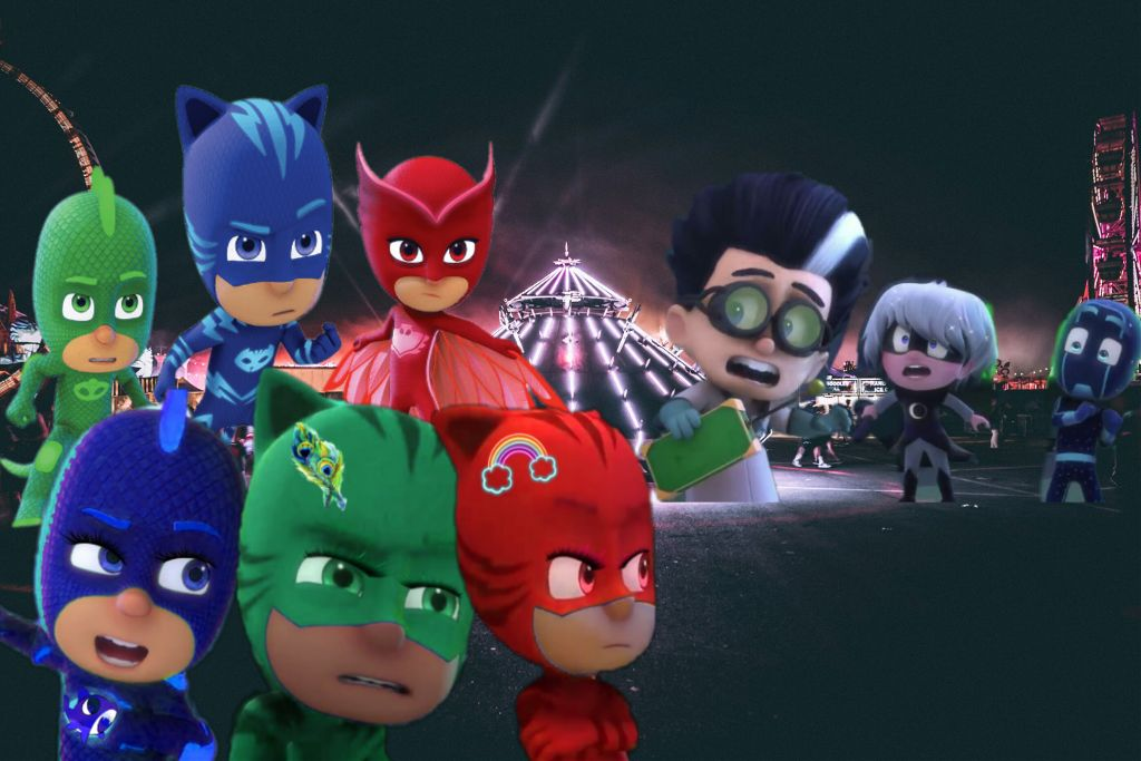 #freetoedit PjMasks and PjRainbowMasks V.s Nighttime Villains!