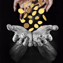 freetoedit hands monedas oro stickersbymeems stickersfreetoedit irchands