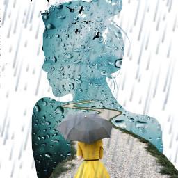 freetoedit woman rain umbrella doubleexposures