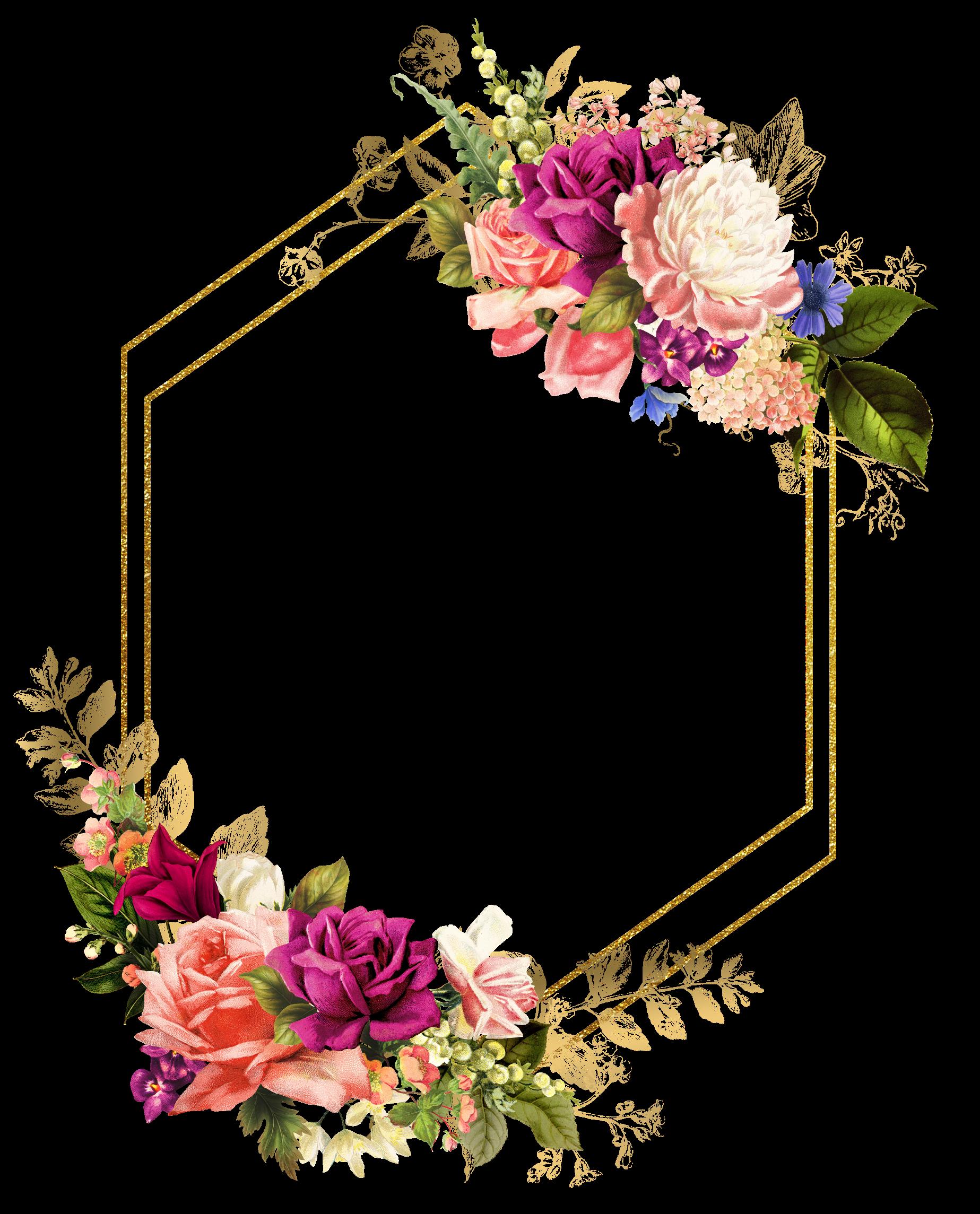 rose square flower floral frame butterfly gold glitter...