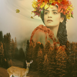 freetoedit woman forest deers nature