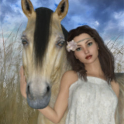 freetoedit woman girl horse wheat ircwheatfield