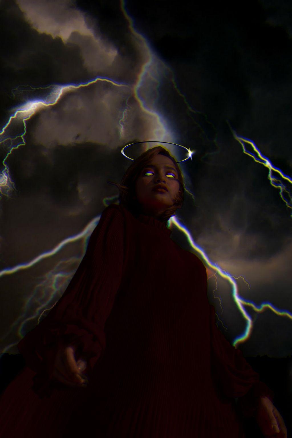 storm master  #freetoedit #remixit #girl #woman #sky #storm #lightning #glitch #black #grunge #dark #angel #devil #evil