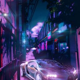 cyberpunk bugatti luxurycar cars city freetoedit