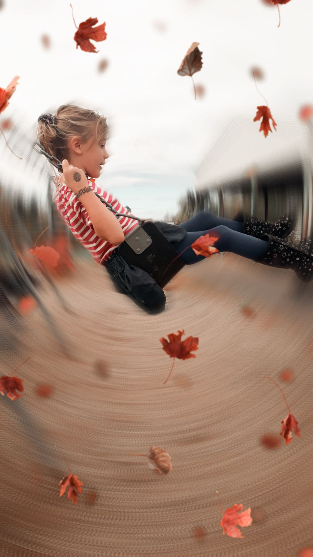 My #girl ✌🖤🍂 Thanks for the fabulous sticker my dear friend💓 #autumn #leaves #blureffect #swing #playground #freetoedit