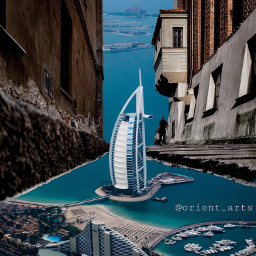 surreal imagination street dubai sea freetoedit