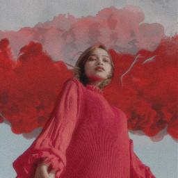 freetoedit red girl dress smoke