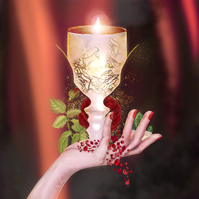#illusion Do you see the candle or the women? #candle #hand #fantasy #crystalsfromswarovski #red Background Original portrait photograph from @riiische 🍃❤  #hand sticker from @simonevdw  #rose stickers 🌹 from the Artist of the Week gallery of @wen-dawn A beautiful gallery to visit!  #freetoedit