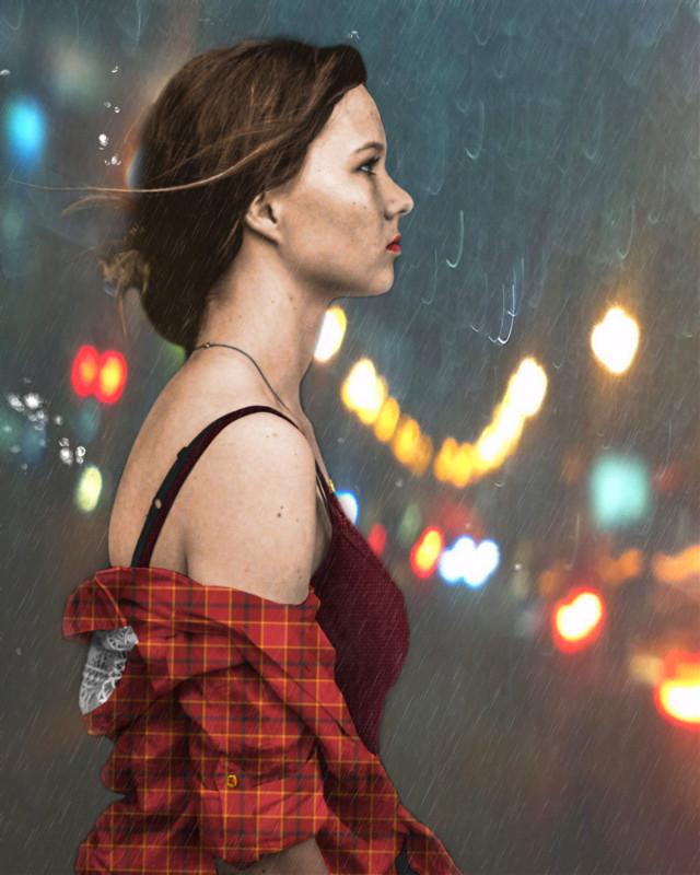 Vote Link: https://picsart.com/i/308675386225201?challenge_id=5da08a03fba2d24a03674577             #freetoedit #woman #girl #plaid #plaidshirt #rain #bokeh #bokehlights #digitalcoloring  #ircblackandwhite
