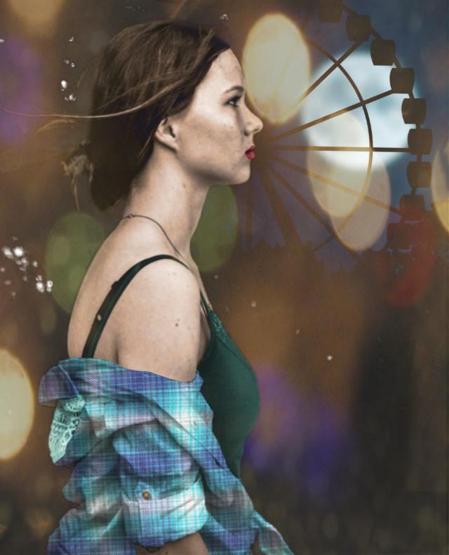 Vote Link: https://picsart.com/i/308679091229201?challenge_id=5da08a03fba2d24a03674577#freetoedit #woman #girl #plaid #plaidshirt #digitalcoloring #farriswheel #night #bokeh #bokehlights  #ircblackandwhite