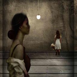 freetoedit lady littlegirl empty hanging ircblackandwhite