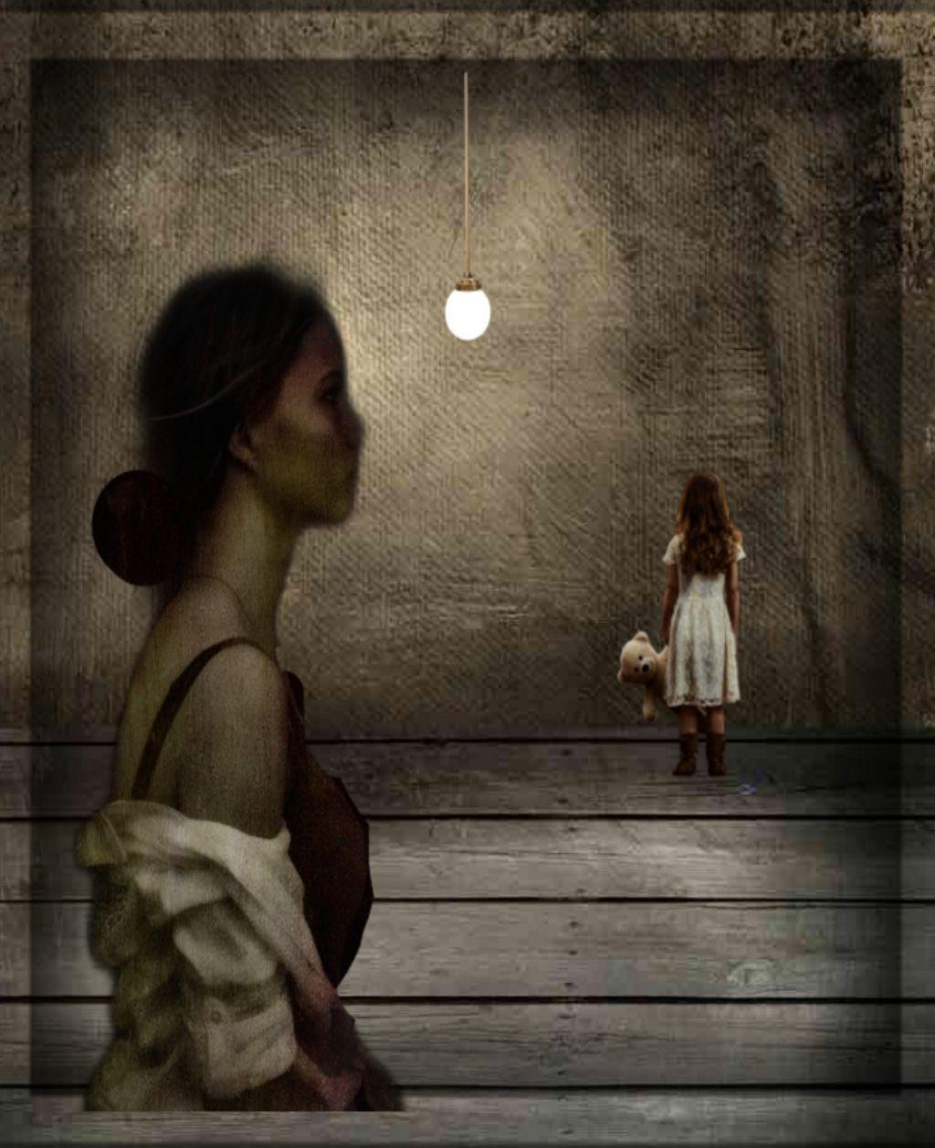 #freetoedit #lady #littlegirl #empty room #hanging light #
