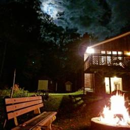 freetoedit campfire moon cottage pretty