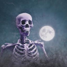 skeleton moon halloween october scary freetoedit