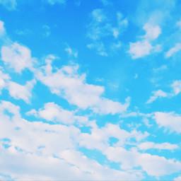 kawaii sky blue bluesky clouds freetoedit