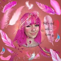 feathers pink female pinktext agirl freetoedit