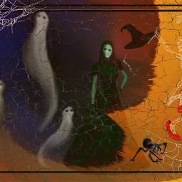 freetoedit halloweenfun ghosts witch skeleton