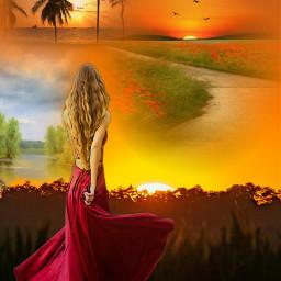 freetoedit womaninred sunrise_sunsets_aroundworld horizons birdsinflight myeditoffreetoedit