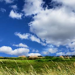 landscape clouds grasses bluesky houses freetoedit