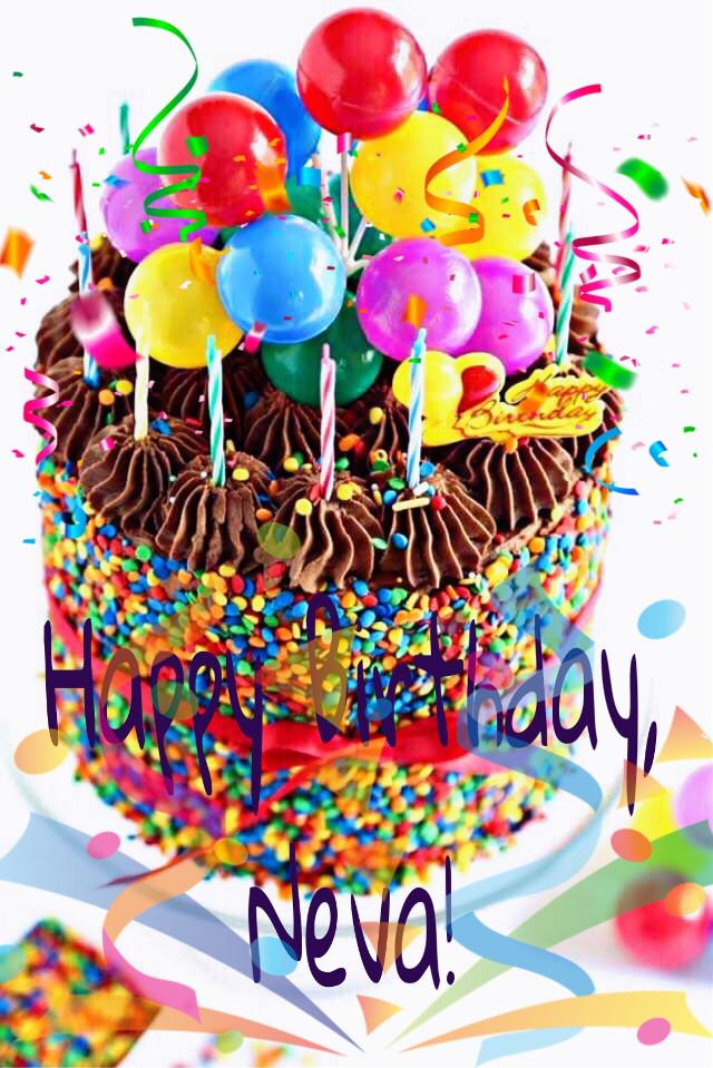 #freetoedit #happybirthday #neva #cake #streamers #balloons #colorful