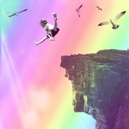freetoedit flying neon cliffs jumping