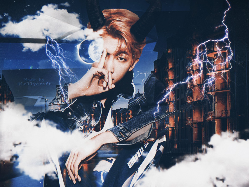 RM entry 🙌💕 For @bts_iu and @yume_editing contest  #iu_and_yume_contest  I got inspired by @yume_editing 's double exposure city- rm and @bts_iu' s Taehyung edit for merging the colors and stickers :)  +my craziness was added 😂😂  Hope you like it 😆💜  #bts #rm #namjoon #kimnamjoon #btsrm #kpop #halloween #demon #freetoedit  #i