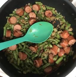 freetoedit dinner bacon sausage greenbeans
