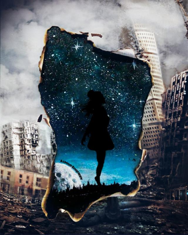 #freetoedit #AsMaa_ShaHeen #fly #city #citylights #destruction #blue #calm #sky #stars #girl #quitetime #gate #war #peach