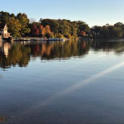 freetoedit reflection autumn fallcolors goldenhour pond