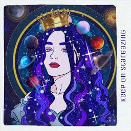 cosmos universe estrellas planetas girl freetoedit
