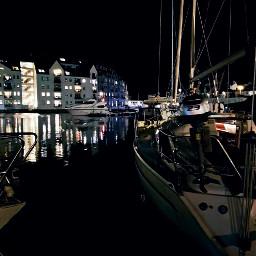 urban lights reflections seaside sailingboat