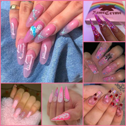freetoedit collage nails pink nailsart