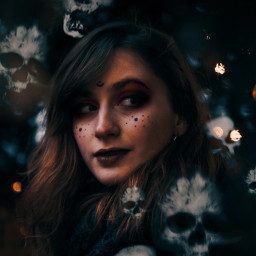 freetoedit halloween skulls witch dark