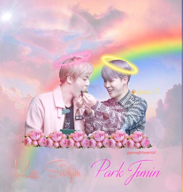 #jimin #seokjin #flowers #roses #sunset #clouds #rainbow #jiminbirthday #angels #bts  #freetoedit