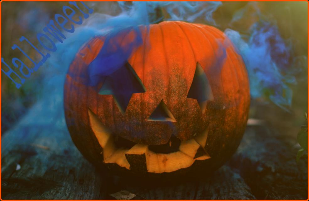 #freetoedit #blue #halloween #pumpkin #orange