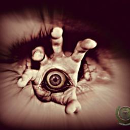 eye eyes hand terror surreal