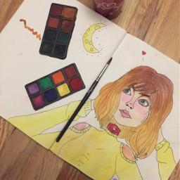 freetoedit watercolorpainting watercolour painting girl