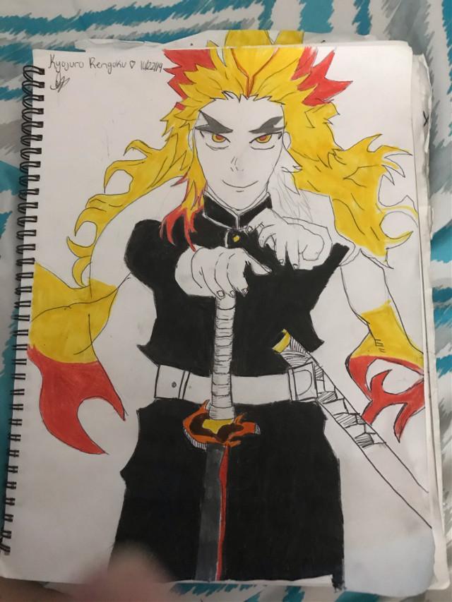 Demon slayer drawing 🔥 fire hashira #anime #demonslayer #kyojuro