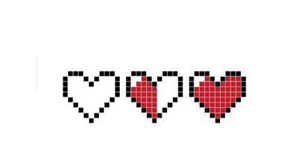 pixel pixelated health hearts red freetoedit