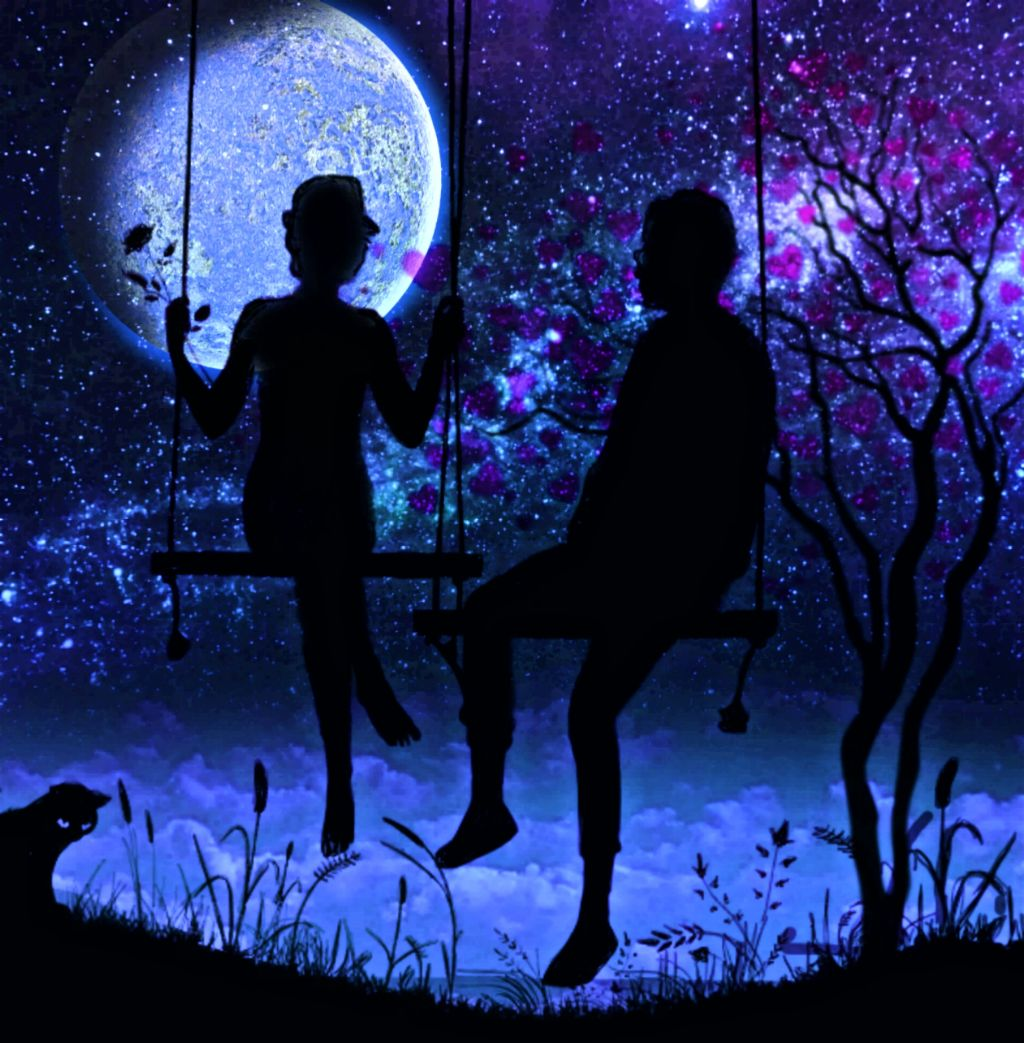 You let my heart jump and let my soul swing freely. Come sit with me for a while! Together we let our souls dangle.💞   #goodmood #feelings #swinging #people #soulmates #truelove #relationships #togheter #happiness #moon #sky #stars #cat #belonging #darkness #night #connected #love #tree #hearts #blue #freetoedit