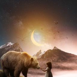 freetoedit vipaziz bear girl moon moonlight mountain sun bird birds animal hd stars star sky nature beautiful cloud clouds