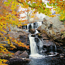 freetoedit natureza waterfall autumnleaves
